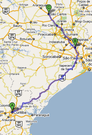 Mapa Jundiaí São Carlos Curitiba