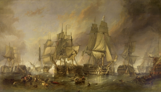 "(""The Battle of Trafalgar"" por Clarkson Stanfield)"