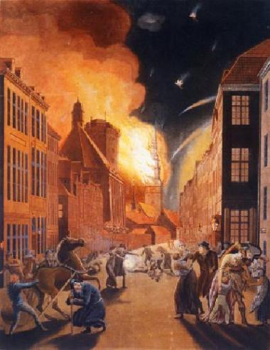 C.W. Eckersberg: -Det frygtelige bombardement af København-, 1807. Det Kgl. Bibliotek.